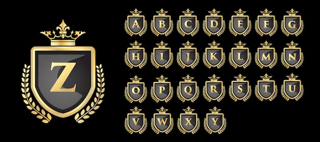 Золотой логотип vinatge royal и luxury с буквой от а до я