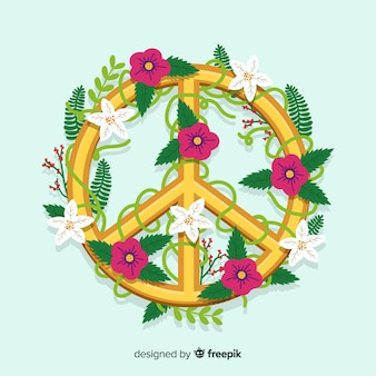 Vine floral peace sign background