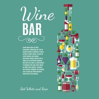 Vine плоский фон винный бар композиция