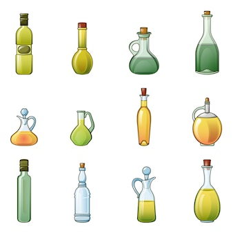 Vinegar bottle icons set