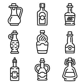 酢のアイコンを設定します。分離されたwebデザインのための酢ベクトルアイコンのアウトラインセット