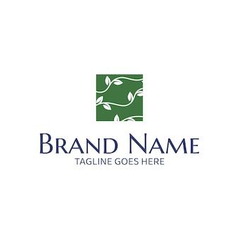 Виноградные лозы в квадратном векторном шаблоне логотипа