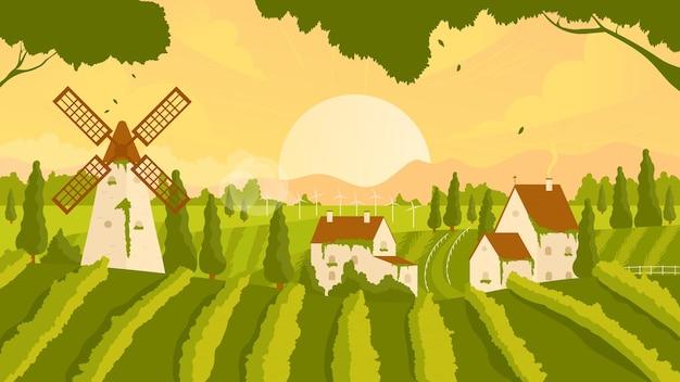 ブドウ園の田舎の夏または秋の日没の風景のシーンとブドウの木の農家の家と