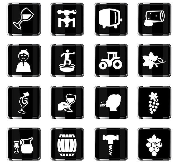 Vineyard vector icons for user interface design