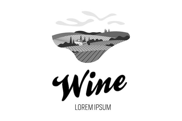 ブドウ園のワインブドウの丘の農場のロゴのコンセプト。ヴィラ、ブドウ園の畑、プランテーションの丘、農場、牧草地、木々と晴れた日のロマンチックな田園風景。ベクトルの黒と白の創造的なサイン