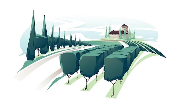 포도원 와인 포도 언덕 농장. 빌라, 포도밭, 농장 언덕, 농장, 초원과 나무가있는 화창한 날의 낭만적 인 시골 풍경.