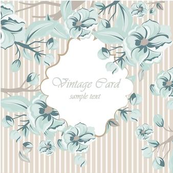 Vingtage wedding invitation with flowers template