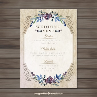 Vintag wedding menu template Free Vector