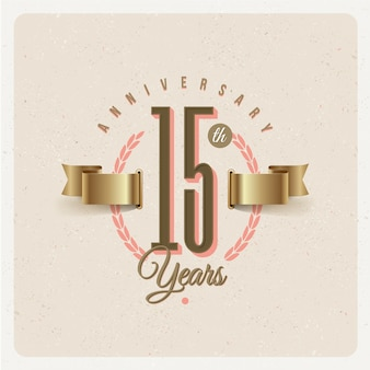 Vintage 15th years anniversary emblem with golden ribbon and laurel wreath - illustration