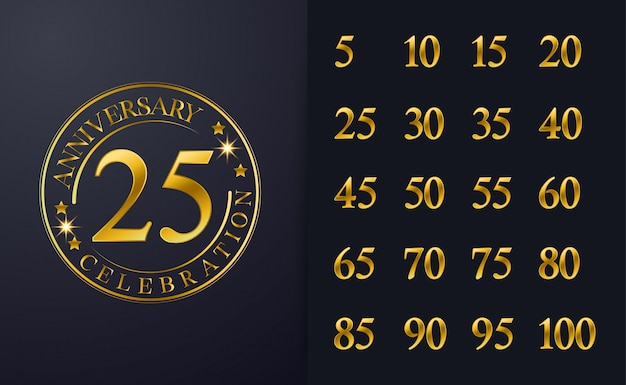 Vintage 25th anniversary inspiration golden line colour celebration emblem design.