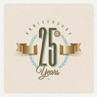 Vintage 25th years anniversary emblem with golden ribbon and laurel wreath - illustration