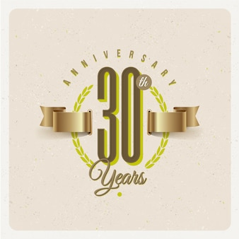 Vintage 30th years anniversary emblem with golden ribbon and laurel wreath - illustration
