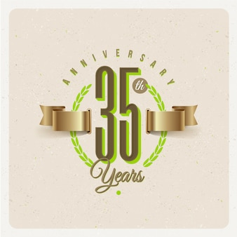 Vintage 35th years anniversary emblem with golden ribbon and laurel wreath - illustration