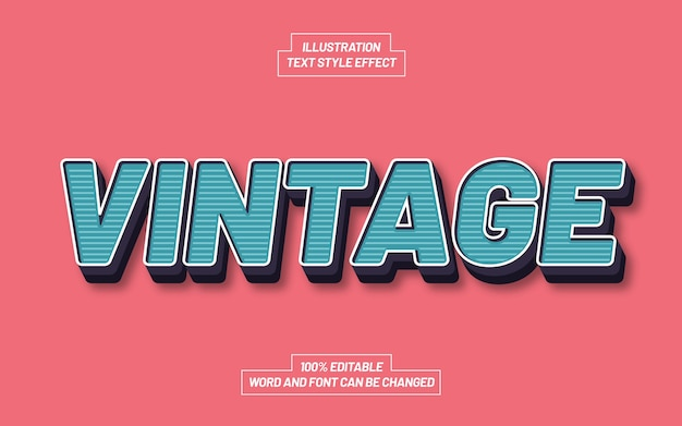 Vintage 3d bold text style effect