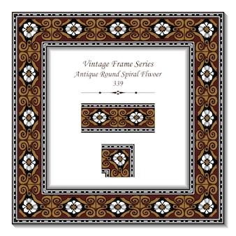 Vintage 3d frame of brown antique round spiral flwoer