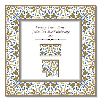Винтажная трехмерная рамка из калейдоскопа golden sun blue