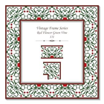 ネイチャーガーデンの赤い花緑つるのヴィンテージ3 dフレーム