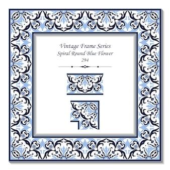 スパイラルラウンドブルー花のビンテージ3 dフレーム