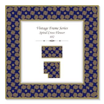 Vintage 3d frame of spiral cross flower gold line