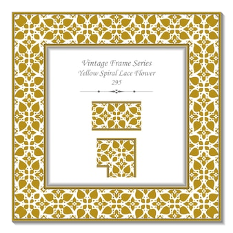 Vintage 3d frame of yellow spiral lace flower