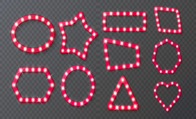 電球付きのヴィンテージ3dライトマーキーベガスフレーム映画館やサーカス用の電球フレーム