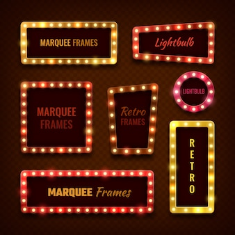 Vintage 3d light marquee vegas frames with lightbulbs set