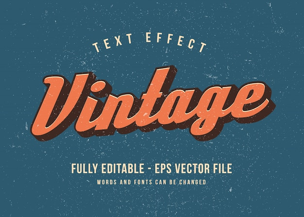 Vintage 3d text effect editable font effect