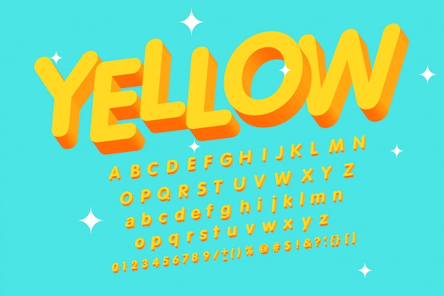 Vintage 3d yellow alphabet