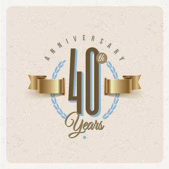 Vintage 40th years anniversary emblem with golden ribbon and laurel wreath - illustration