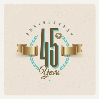 Vintage 45th years anniversary emblem with golden ribbon and laurel wreath - illustration