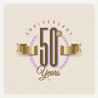 Vintage 50th years anniversary emblem with golden ribbon and laurel wreath - illustration