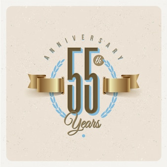 Vintage 55th years anniversary emblem with golden ribbon and laurel wreath - illustration