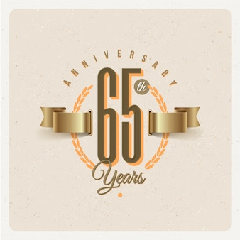 Vintage 65th years anniversary emblem with golden ribbon and laurel wreath - illustration