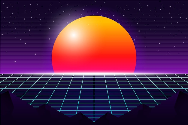 Vintage 80's futuristic background