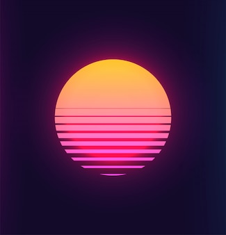 Vintage 80s colorful retro sunset futuristic background