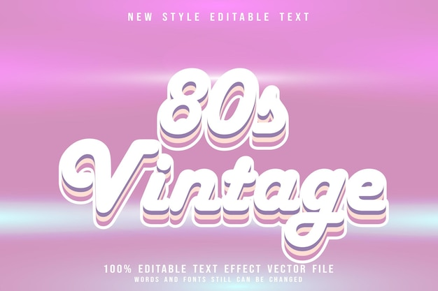 Vintage 80s editable text effect emboss 80s style