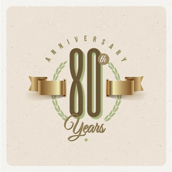 Vintage 80th years anniversary emblem with golden ribbon and laurel wreath - illustration