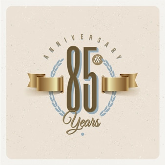 Vintage 85th years anniversary emblem with golden ribbon and laurel wreath - illustration