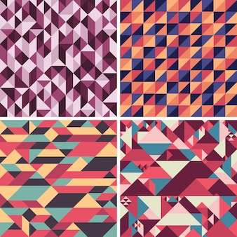 Vintage abstract geometric seamless patterns set.