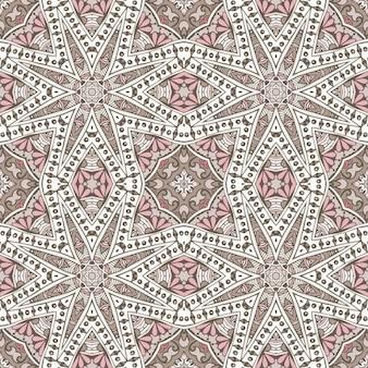 Vintage abstract geometric tiles bohemian ethnic seamless pattern