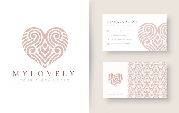 Vintage abstract love logo with business card design