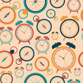Vintage abstract seamless pattern with alarm clocks.