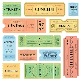 Vintage admitted cinema, music festival pass, train ticket.