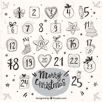 Vintage advent calendar with hand drawn ornaments