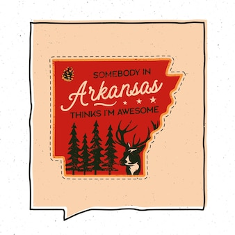 Vintage adventure arizona badge illustration design. outdoor us state emblem with forest, deer and text - somebody in arizona thinks i'm awesome. unusual american hipster style sticker. stock vector.