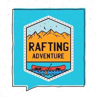 Vintage adventure badge illustration design. outdoor illustration with canoe, mountains and text - rafting adventure. unusual hipster style patch. stock vector.