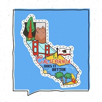 Винтажные приключения калифорния значок дизайн иллюстрации. наружная эмблема штата сша с достопримечательностями кали и текстом - california does it better. необычная американская наклейка в стиле хипстера. фондовый вектор.