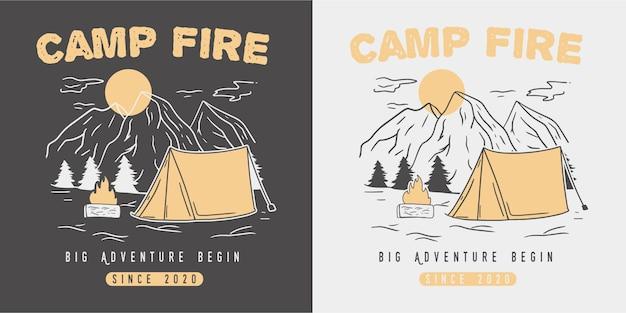 Vintage adventure camp fire illustration.