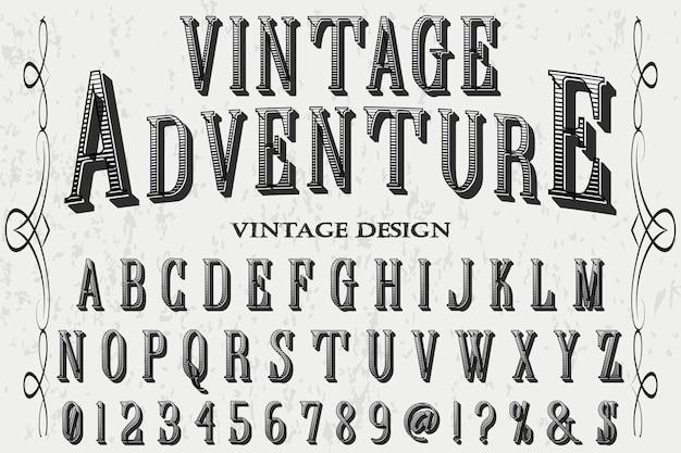 Vintage adventure lettering label design
