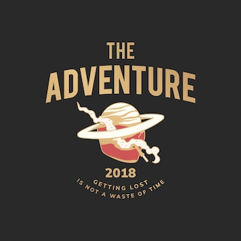 Vintage the adventure text design vector